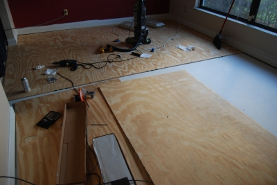 the living room makeover - subfloor in progress