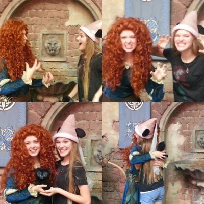 PinkGirl and Merida before the Downpour Magic Kingdom May 28th