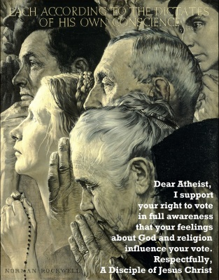 Dear Atheist I support your right to vote Freedom of Religion